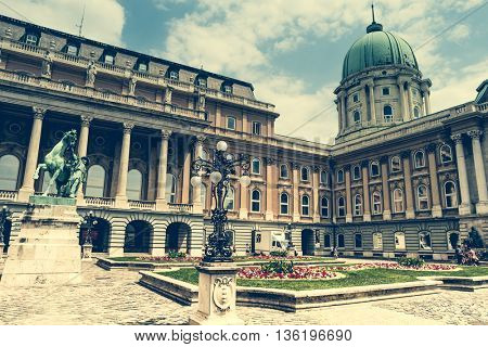 Budapest, Hungary - July 07, 2015: Buda Castle courtyard with statue