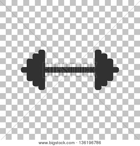 Dumbbell weights sign. Dark gray icon on transparent background.