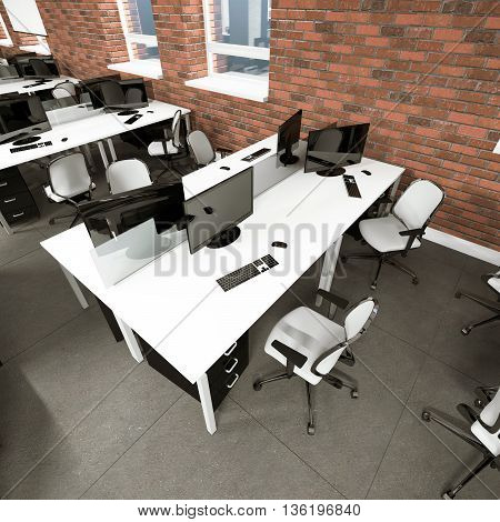 Empty modern office interior work place 3D visualization