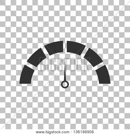 Speedometer sign illustration. Dark gray icon on transparent background.