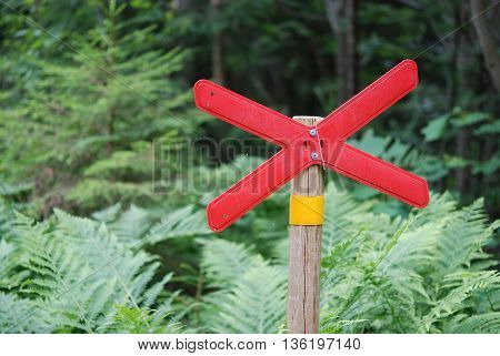 Trail mark sign, help to find the way