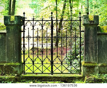 Old iron portal of a cemetery. Antique entrance with focus on the foreground.