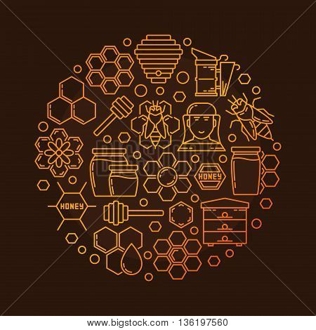 Bee and honey illustration. Vector golden round beekeeping sign made with outline apiary icons on dark brown background
