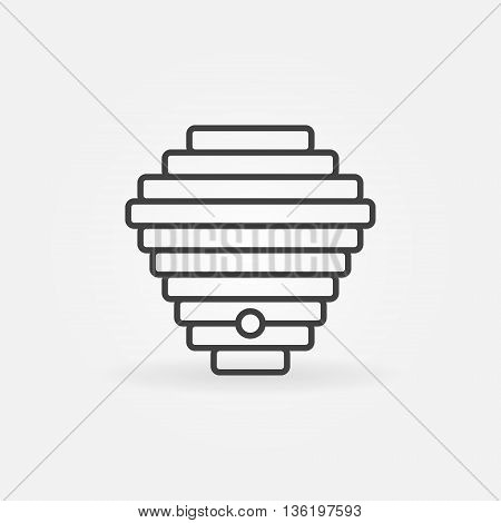 Beehive linear icon. Vector minimal bee hive concept symbol or logo element in thin line style