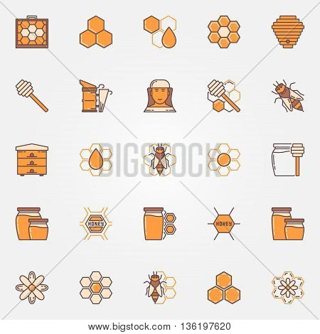 Beekeeping and apiary colorful icons. Vector flat honey and honeycomb symbols. Collection of bee, beekeeper, beehive yellow signs