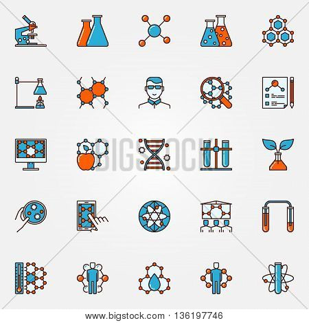 Chemistry and biotechnology icons - flat science colorful symbols. Education bio technology signs