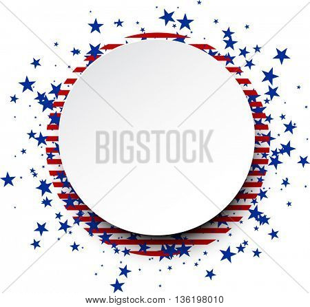 Round background with stripes and stars. Vector paper illustration.