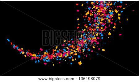 Black abstract background with color confetti. Vector illustration.