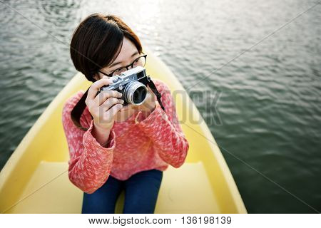 Girl Adventure Boat Trip Traveling Holiday Photography Concept