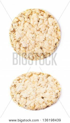 Round diet rice cracker isolated over the white background, set of two different foreshortenings
