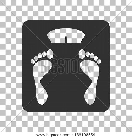 Bathroom scale sign. Dark gray icon on transparent background.