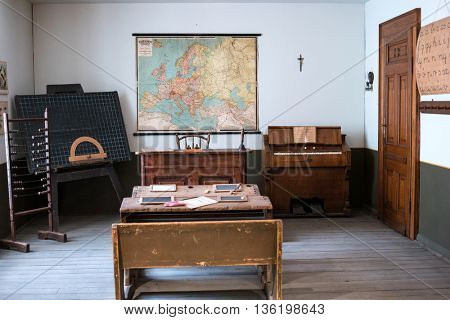 Budapest, Hungary - July 08, 2015: exhibition area stylized as classroom with map in Hungarian National Museum