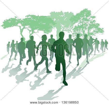 Marathon running in the park, athlete, sportsman, sportswoman, jogging