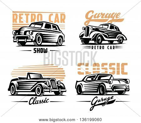 vector illustration of a retro cars emblem