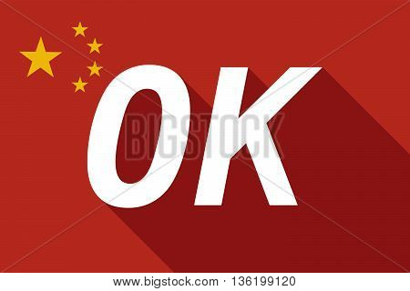 Long Shadow China Flag With    The Text Ok