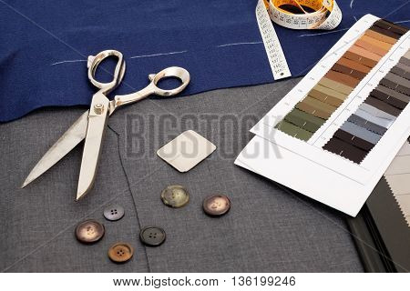 Tailor Objects Still Life Collected On Textile Background