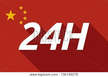 Long Shadow China Flag With    The Text 24H