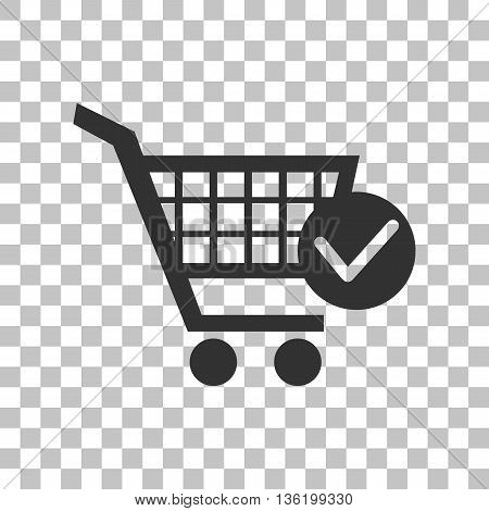 Shopping Cart with Check Mark sign. Dark gray icon on transparent background.