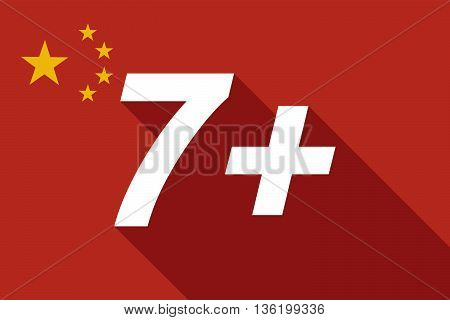 Long Shadow China Flag With    The Text 7+