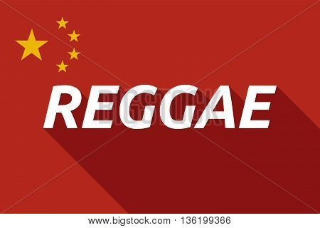 Long Shadow China Flag With    The Text Reggae