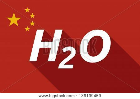Long Shadow China Flag With    The Text H2O