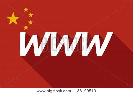 Long Shadow China Flag With    The Text Www