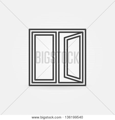 Window outline icon. Vector open window sign or pictogram in thin line style