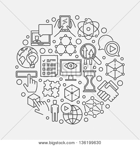 Innovation creative illustration. Vector round novation thin line symbol. Linear innovation technology concept design