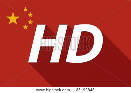 Long Shadow China Flag With    The Text Hd