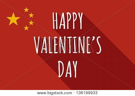 Long Shadow China Flag With    The Text Happy Valentines Day
