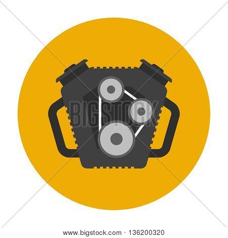 Car engine flat icon. Car repair service spare part