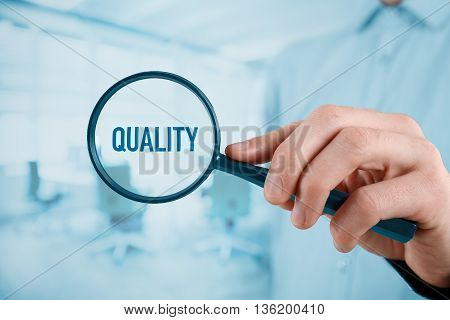 Manager (businessman coach leadership) is focused on quality.