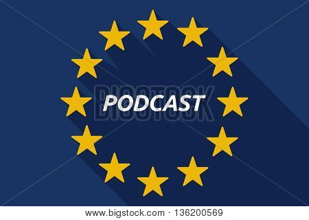 Long Shadow European Union Flag With    The Text Podcast