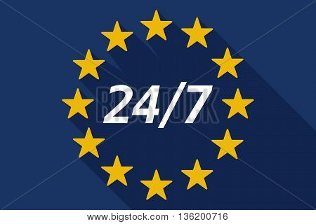Long Shadow European Union Flag With    The Text 24/7