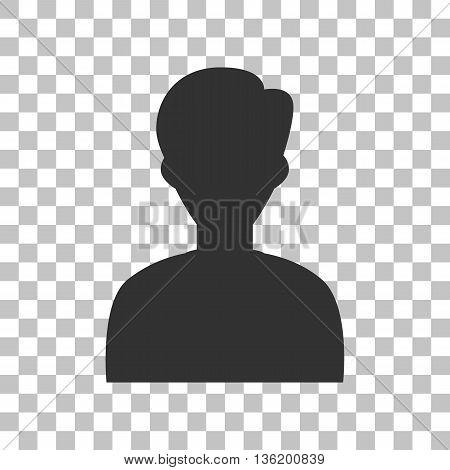 User avatar illustration. Anonymous sign. Dark gray icon on transparent background.