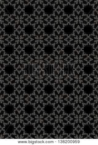 Seamless graceful silver floral pattern on black background
