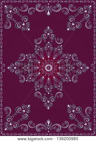 Vintage  frame with violet luxury ornament on magenta background