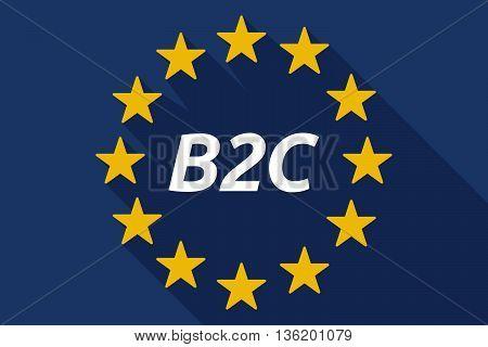 Long Shadow European Union Flag With    The Text B2C