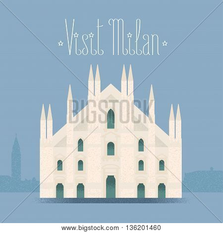 Milan, Milano cathedral vector illustration, design element background. Italian landmark