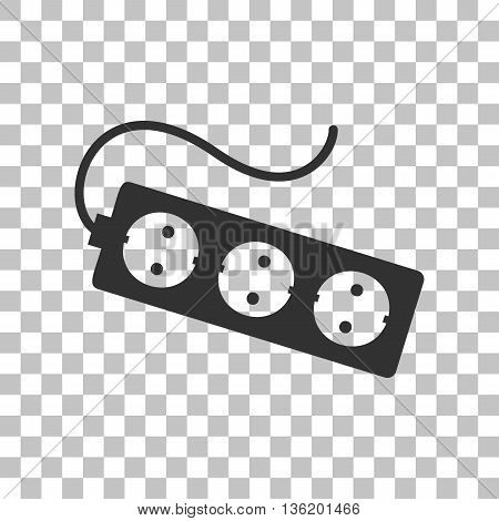 Electric extension plug sign. Dark gray icon on transparent background.