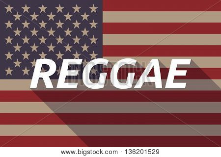 Long Shadow Usa Flag With    The Text Reggae