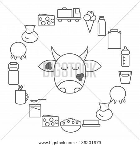 Icons of milk and dairy products. Dairy icons arranged in a circle in the style of the line. Vector illustration.