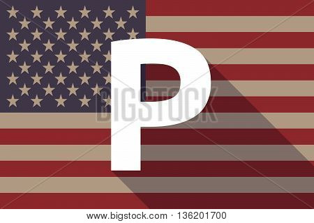 Long Shadow Usa Flag With    The Letter P