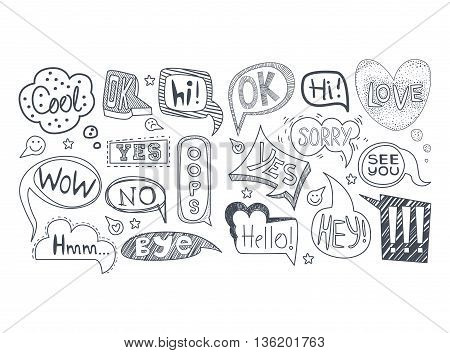 Comic Style Speech Bubbles With Different Expressions Set Of Sketch Style Monochrome Vector Icons On White Background