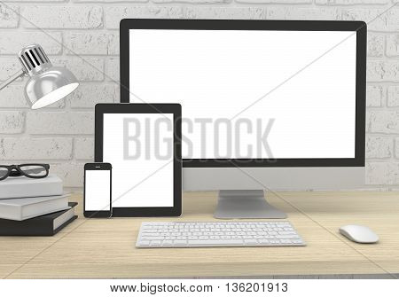 Responsive mockup screen. Monitor, tablet, phone on table in office. 3d rendering.