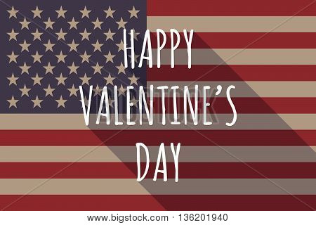 Long Shadow Usa Flag With    The Text Happy Valentines Day