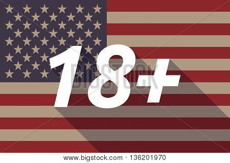 Long Shadow Usa Flag With    The Text 18+