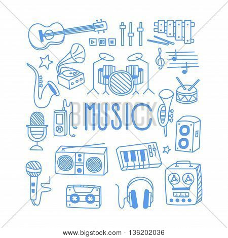 Music Related Object Set With Text Hand Drawn Simple Vector Illustration Is Sketch Style