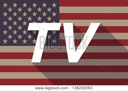 Long Shadow Usa Flag With    The Text Tv