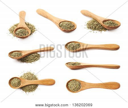 Wooden spoon full of dried rosmarinus seasoning isolated over the white background, set of multiple different foreshortenings
